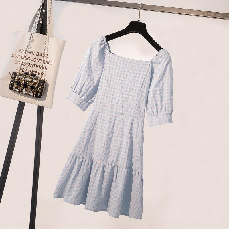 Französisch Plaid für Mädchen 2020 neue Taille schlank elegantes gefaltetes Platycodon grandiflorum Kleid Kleid