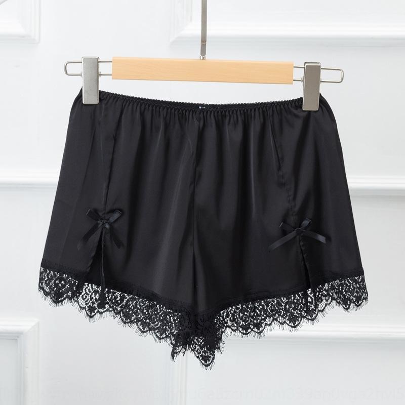 Летняя новая корейский стиль шелковистой сатин шелк, как кружева кружево безопасности брюки лук свободных оснований шорты безопасность брюки p6vmK