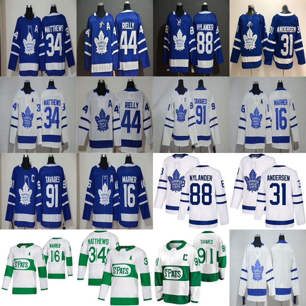 Toronto Maple Leafs Jersey 34 Auston Matthews Jersey 16 Mitchell Marner 91 John Tavares 44 Morgan Rielly Hockey Hockey Jerseys cosidos