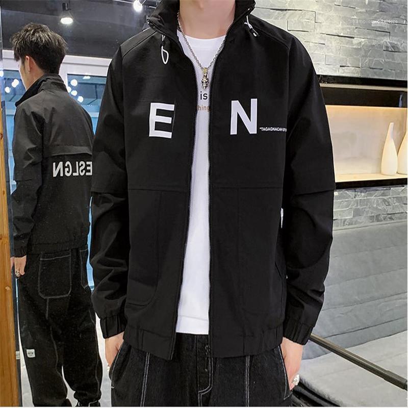 Ropa para Hombres Hombres Carta diseño de impresión de la chaqueta de la cremallera de la solapa de cuello para hombre abrigos con mangas larga de color sólido