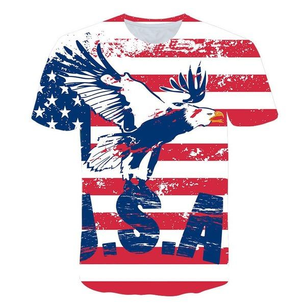 Eagle Pattern 3d цифровая печать футболка Круглого воротник рубашки Лета мужской с коротким рукавом для мужчин-дизайнеры Tops