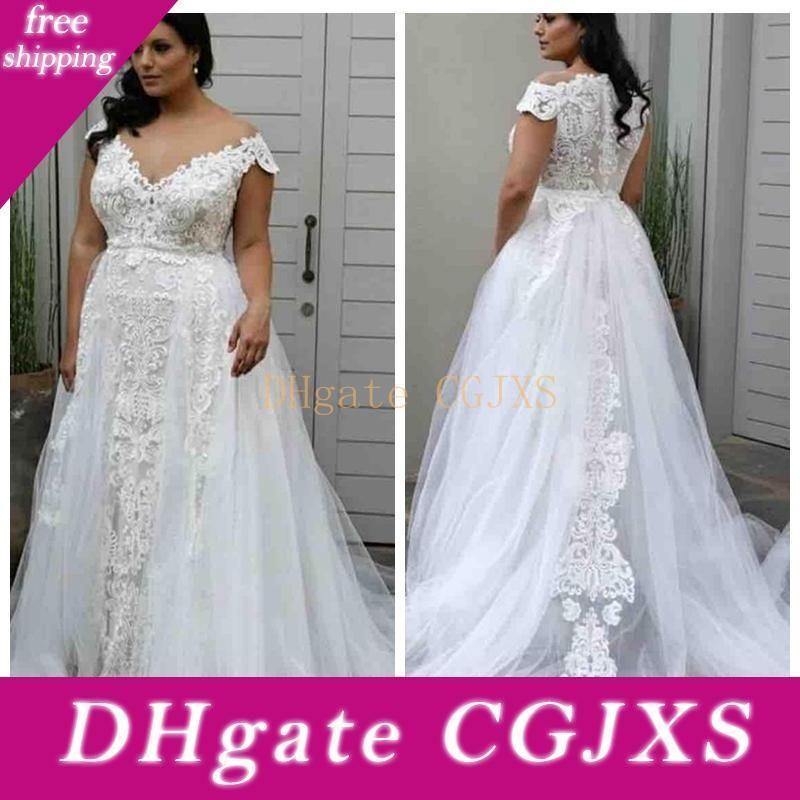 Elegante Plus Size Ombro A Linha Overskirt casamento Vestidos Off Lace Applique Trem da varredura Partido vestidos de noiva Para Garden Country