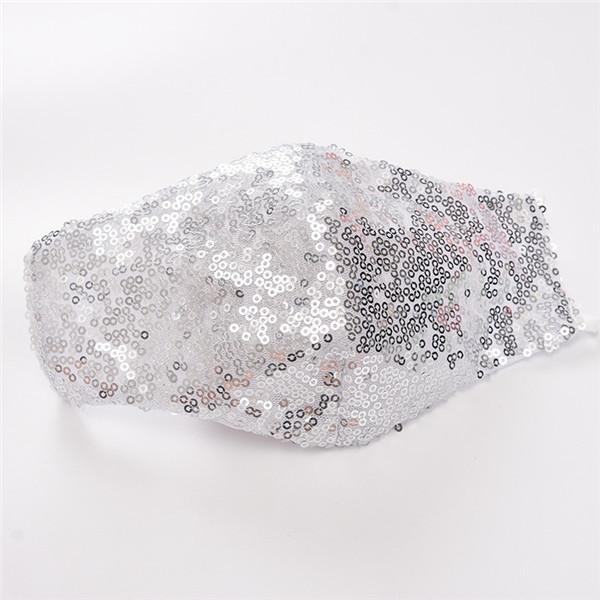 Máscaras Máscara de moda para las mujeres de las lentejuelas de Bling Bling de la cara al aire libre a prueba de polvo respirable lavable reutilizable Mascarilla