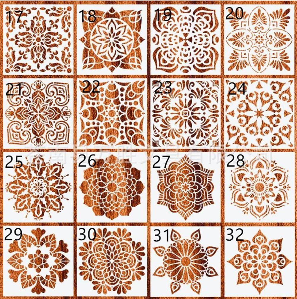 New Home 32 Arten 15 * 15cm Mandala Stencils DIY Dekoration zu Hause Zeichnung Lasergeschnittene Schablone Wandschablone Malerei für Holz Fliesen Stoff