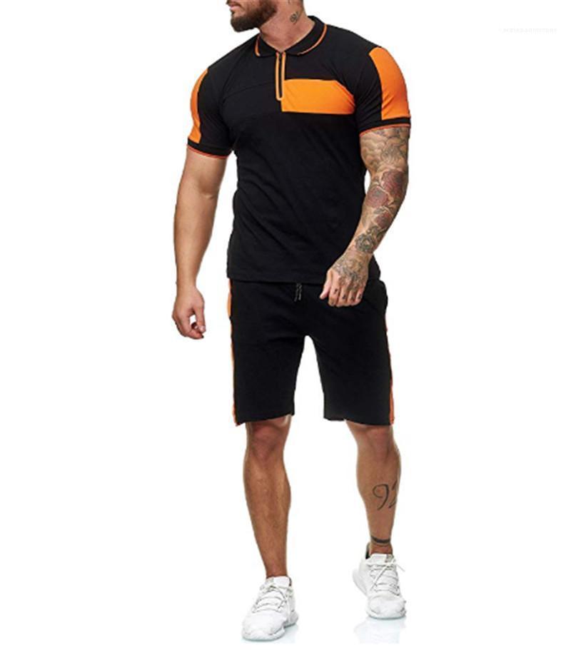 Trajes de diseñador del verano del Mens de la manga corta Camisas shorts fija 2pcs Moda con paneles de color de contraste Casual Hombre Ropa chándales