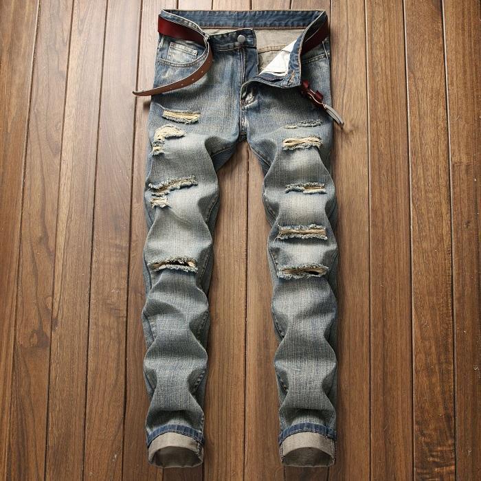 Uomo sportivo Designer Jeans dritti Retro Slim Skinny Jeans Mens Distressed Ripped Biker Slim