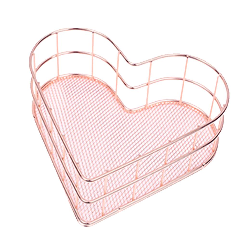 Home Nordic Style Rose Gold Office Heart Shaped Iron Art Sundries Storage Basket
