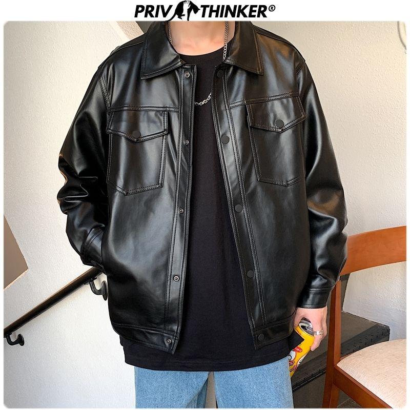 Chaqueta de cuero de los hombres de primavera Privathinker Negro suave del Faux 2020 chaqueta para hombre de Hip Hop de cuero masculino de gran tamaño Streetwear Bolsillos ropa CX200817