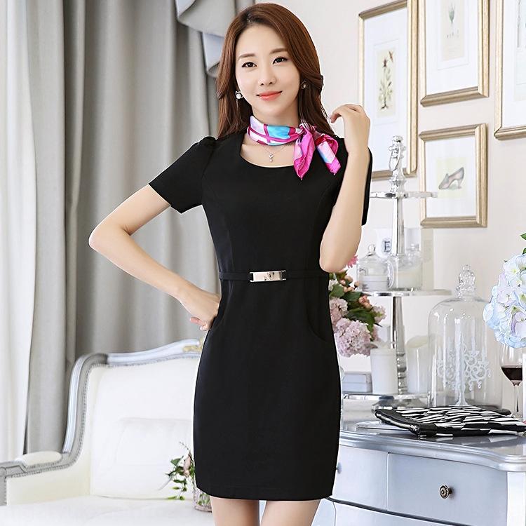OeYcI cINUE Verão roupas da moda beleza roupas de trabalho desgaste do trabalho vestido esteticista de manga curta vestido grande tamanho autocarro loja de jóias das mulheres