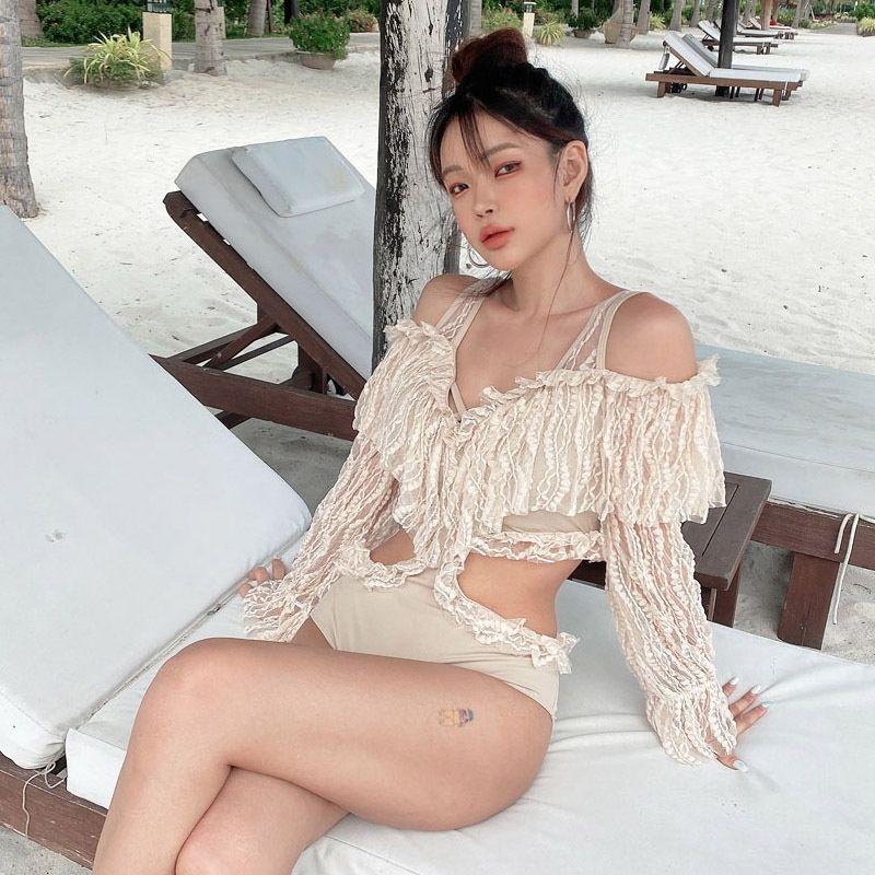 2020 nueva manga larga protector solar de una sola pieza del traje de baño del bikini atractiva de las mujeres de encaje sin espalda traje de baño bikini TkXOu