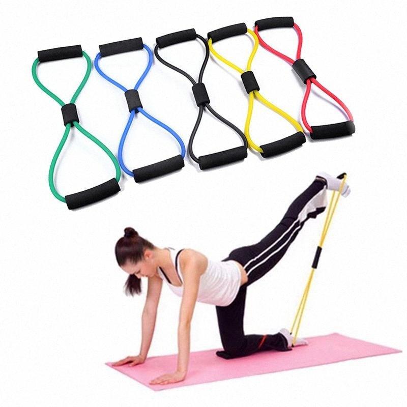 8 Shaped Fitness en caoutchouc élastique Boucle de traction Corde Sport Élastique Tension Baudrier de poitrine Expander Band Yoga Pilates Fitness Ceinture QgZo #