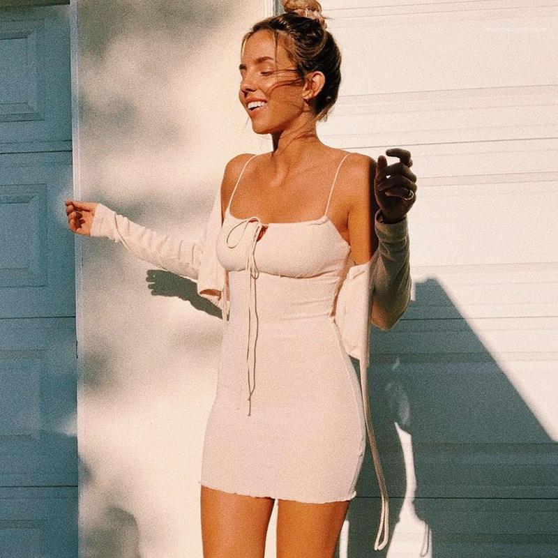 Bayanlar Spagetti Askı Parti Elbise Kadın Giyim Katı Püskül Seksi Tasarımcı Bayan Gece Kulübü BODYCON Elbise Yaz