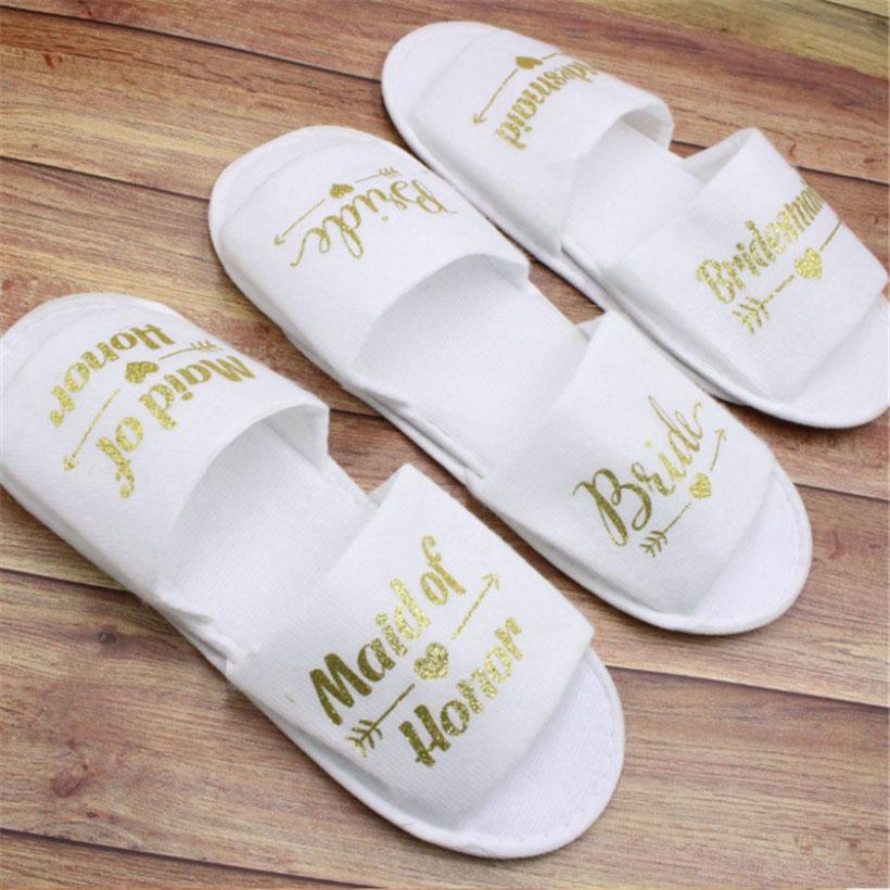 New Bride Shower Bride Wedding Decoration Bridesmaid Party Spa Soft Slippers Ladies Bath Disposable Slippers Party Supplies HH9-3268