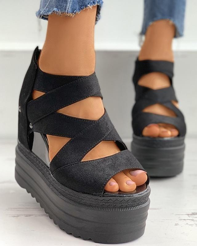 Tacchi donne gladiatore sandali di estate Fthick Piattaforma Zeppe Flock Croce Strap Peep Toe Zip Roma delle signore di modo Scarpe Donna 2020