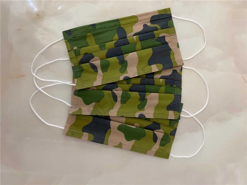 20pcs/lot Disposable Designer Face Mask Unisex Camouflage Printed Fashion Face Mask Non-woven Fabric Dustproof Mouth-muffle Cover D81006