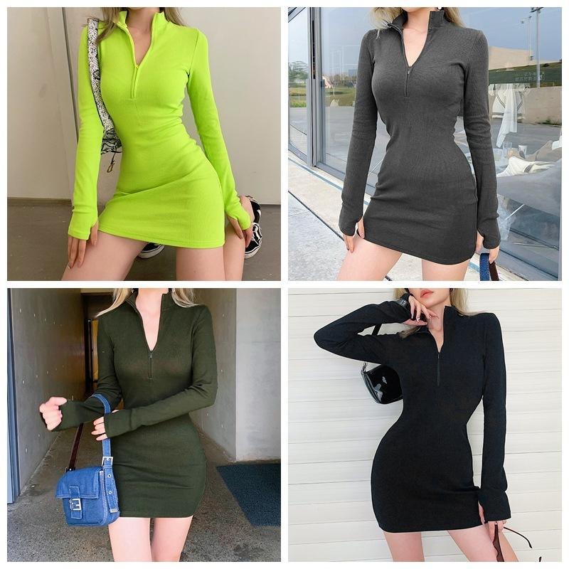 Moda Mulheres Dress Sexy Cor Sólida V Neck Skirt Skirt Zipper Manga Longa Apertado Mini Senhoras Vestidos Multicolor Ty886 AcrVX