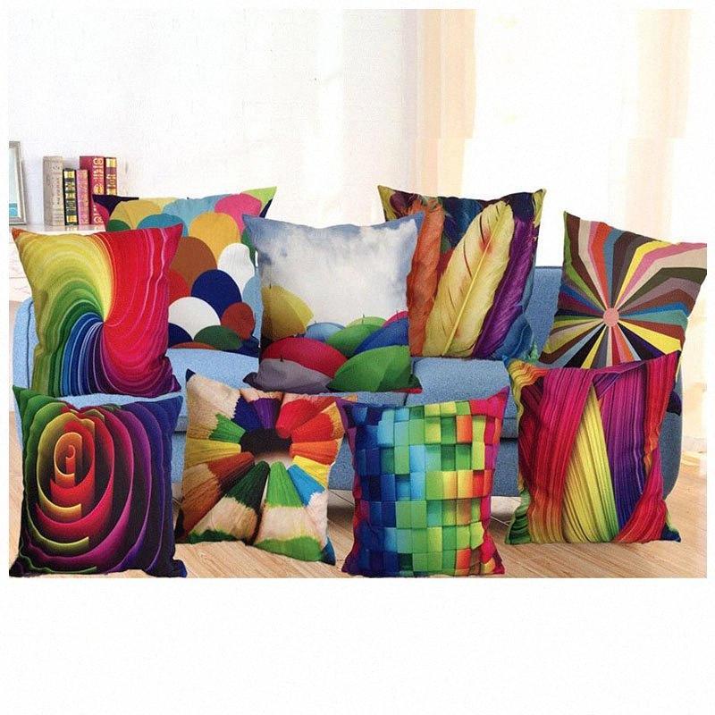 45 * 45cm 3D-Kissenbezug Car Sofa Platz Kissenbezug Muster bedruckten Dekor dekoratives Haus Dekokissen Fall Silk Pillowcase Leinen HH Rihu #