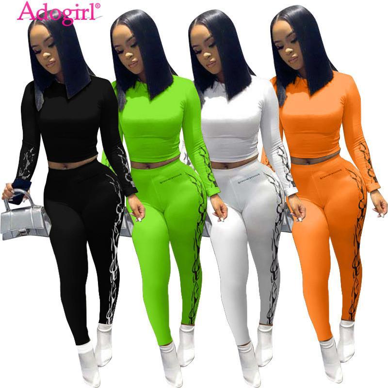 Tute da donna ADOGIRL 2021 AUTUNNO DONNA DUE PIECI SET FASHION Stampa manica lunga Crop Top Shirts Leggings Pantaloni Vestita Tuta femminile Tracksuit
