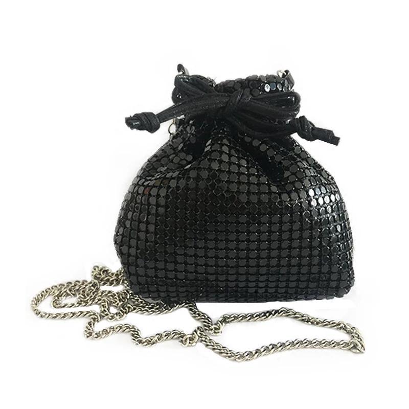 saco 2020 nova moda saco bênção das mulheres PVC Lantejoula cordão carteira feminina cadeia ombro único Mensageiro Mini chave
