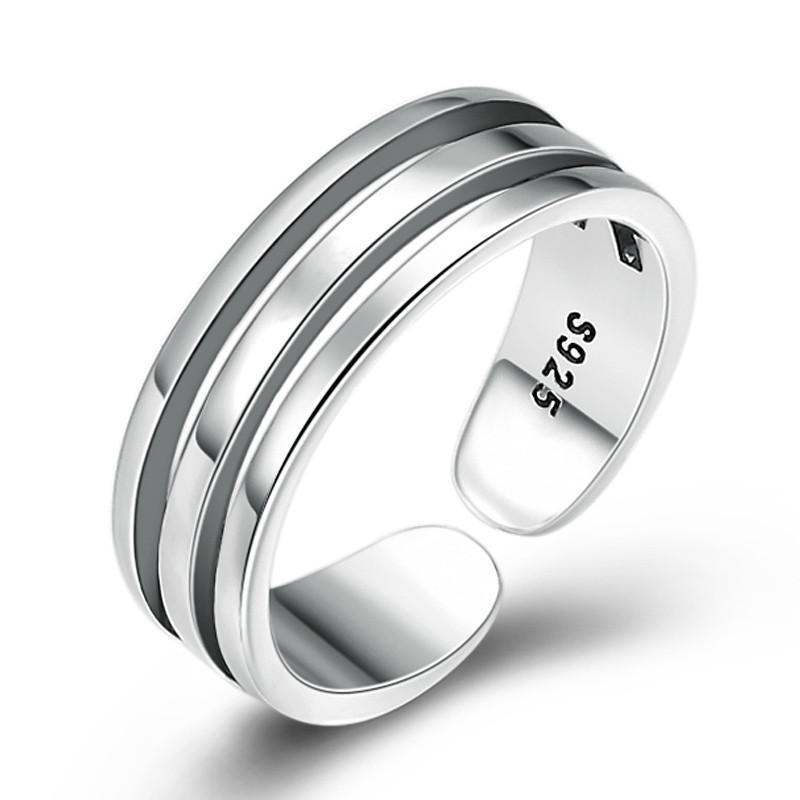 925 Sterling Silver Женщины Регулируемая Tail кольцо Творческий полая многослойная Открытие кольца ювелирные изделия