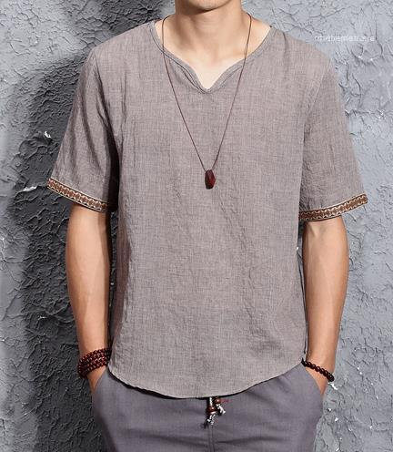 T-Shirt Sommer-Kurzschluss-Hülsen-Fahsion Herren-Oberteile Cuff Stickerei Casual Male Kleidung Klassik Plus-Herren