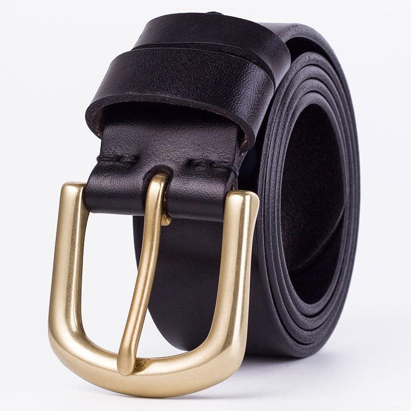 Correas de la manera hombres de la correa de la correa 100% cuero de la vaca superior de la correa de cobre hebilla de la aguja de 3,8 cm de anchura Negro café cinturones masculinos ocasionales 05