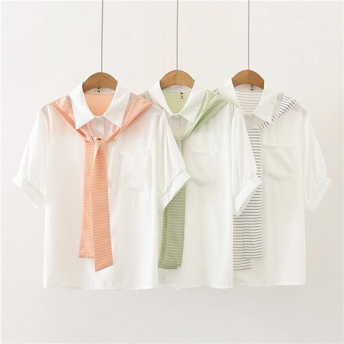 Bluse Frauen Patchwork Striped Art und Weise beiläufige Shirt der Frauen Designer-Schal Sommer-Shirts Frau Fälschung zwei Stücke lose