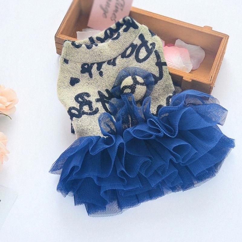 Прекрасные кружева сетки Собаки Письмо свитер платье платье Rosy Pet Свадебные платья для собак юбки v4nO #