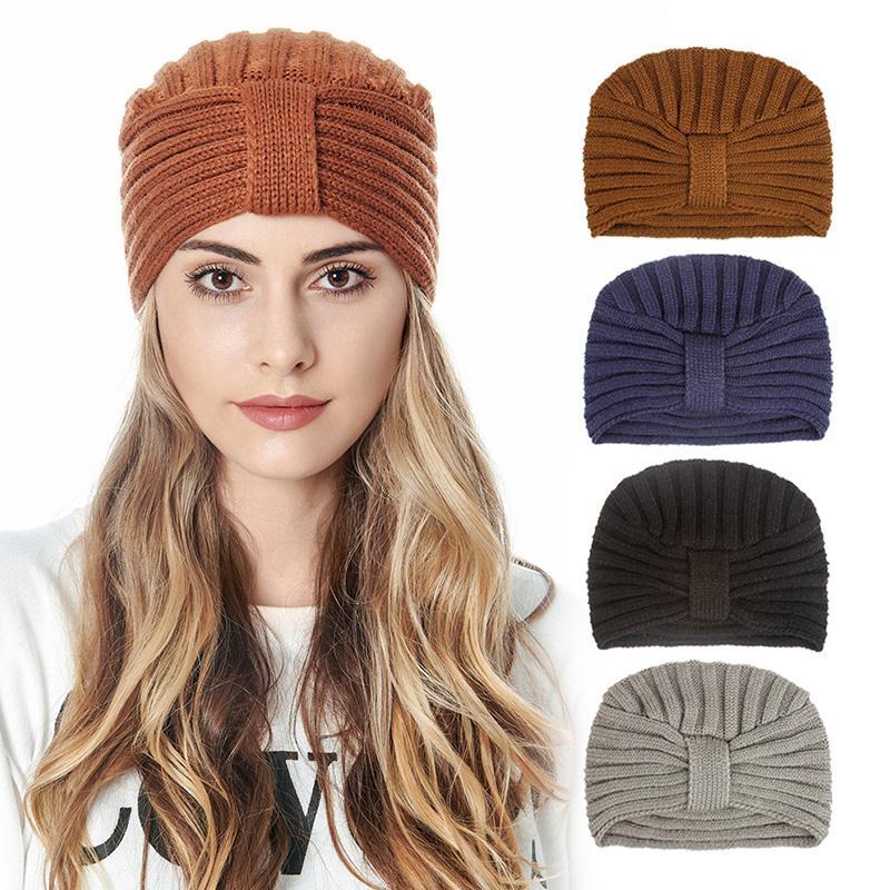 Beanie / черепные колпачки женские вязаные тюрбаны шляпы Bohemia Wrap головка шляпа акриловая шерсть вязание боннеты осень зима теплая крышка