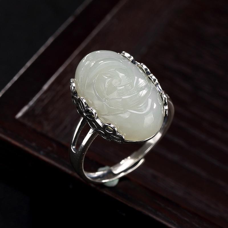 925 Sterlingsilber-Ringe für Frauen S925 Nephrit Carve Lotus Resizable Ring-Satz der heißen Verkaufs-Weinlese-Hochzeitstag Ringe Großhandel