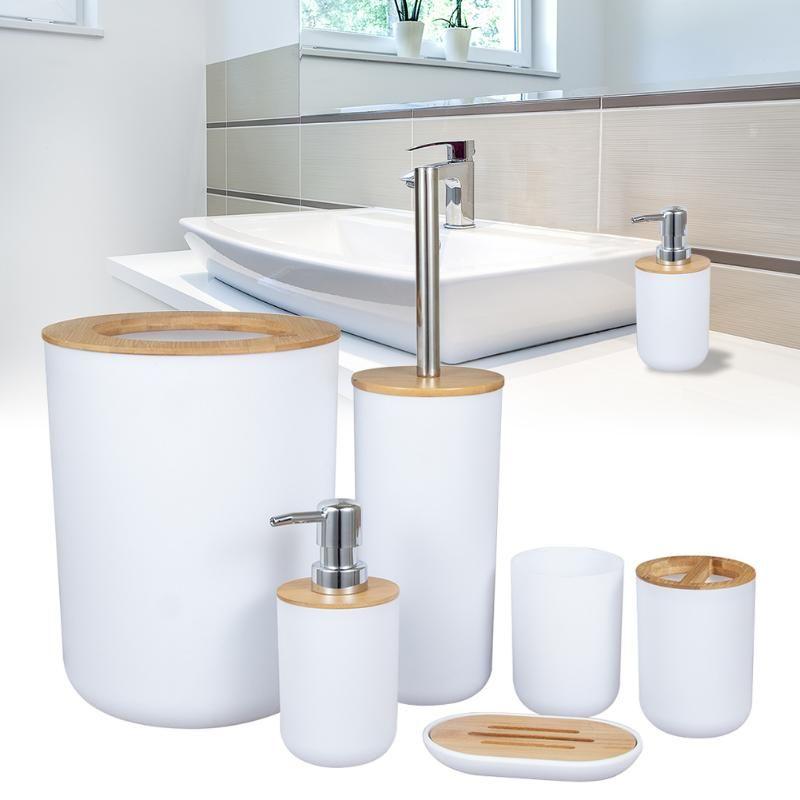 Комплект аксессуаров для ванной комнаты Набор гостиной посуды Чашка Душ Космические Космические туалетные кисти для мыла Dispenser Bamboo Деревянные отходы Bin Кухня