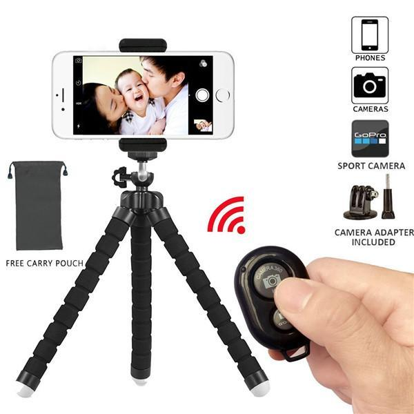 cgjxsTripod Stand Holder ,Flexible Mini ,With Bluetooth Wireless Remote Shutter And Universal Clip For Iphone Phone ,Ipad ,Digital Camera ,G
