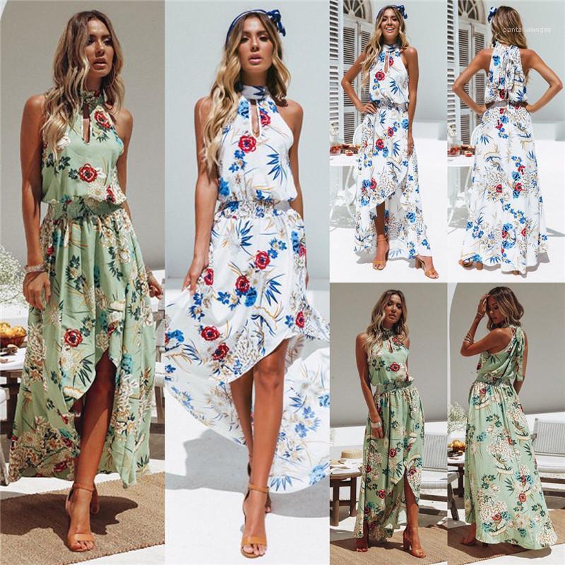 Günlük Elbiseler Çiçek Baskılı Kolsuz Halter Elastik Bel Düzensiz Elbiseler Moda Stil Kadın Giyim Yaz Kadın