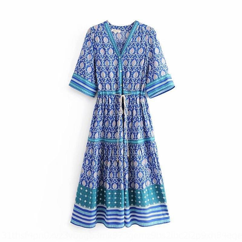 eUd1k RZfXZ Internacional de Nova moda 3 cores no vestido de decote em V com de 2.019 vazio mulheres venda quente vestido de flores estação de posicionamento