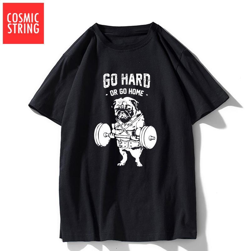 КОСМИЧЕСКИЙ STRING прохладно 100% хлопок идти тяжело или идти домой печать мужчин майка случайные короткий рукав мужчины Tshirt о-образным вырезом мужской футболки майку