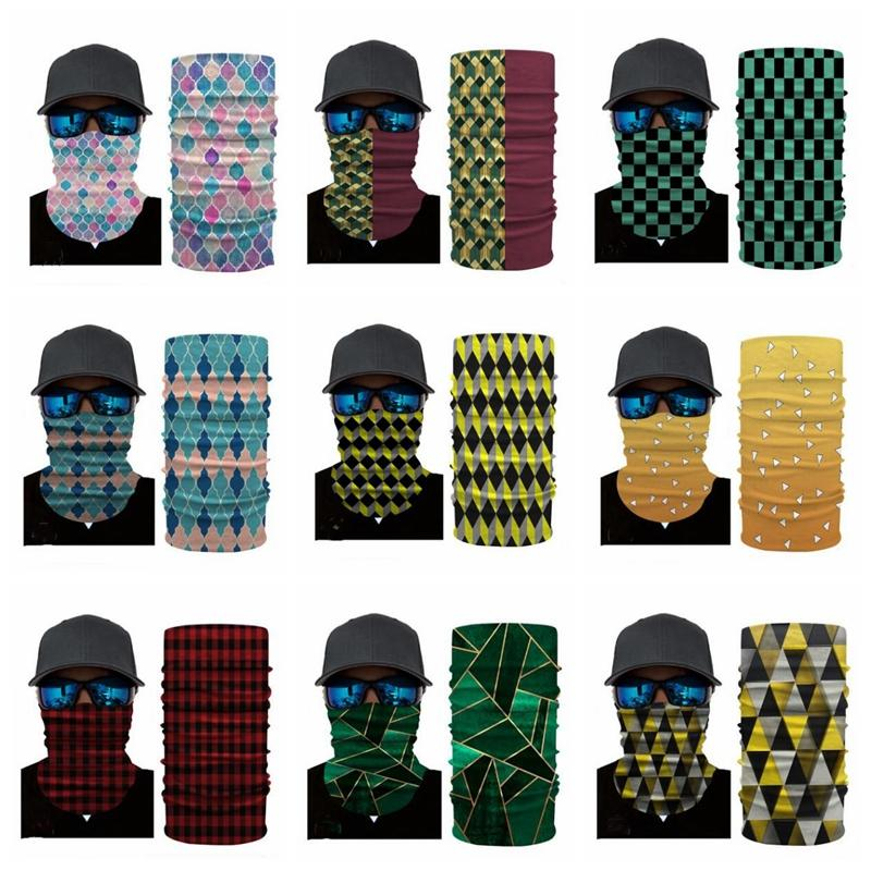 Masks Striped Plaid Face Masks 3D Magic Bandanas Digital Print Head Scarves Sunblock Sports Mask Outdoor Cycling Neck Wrap Headband B7618