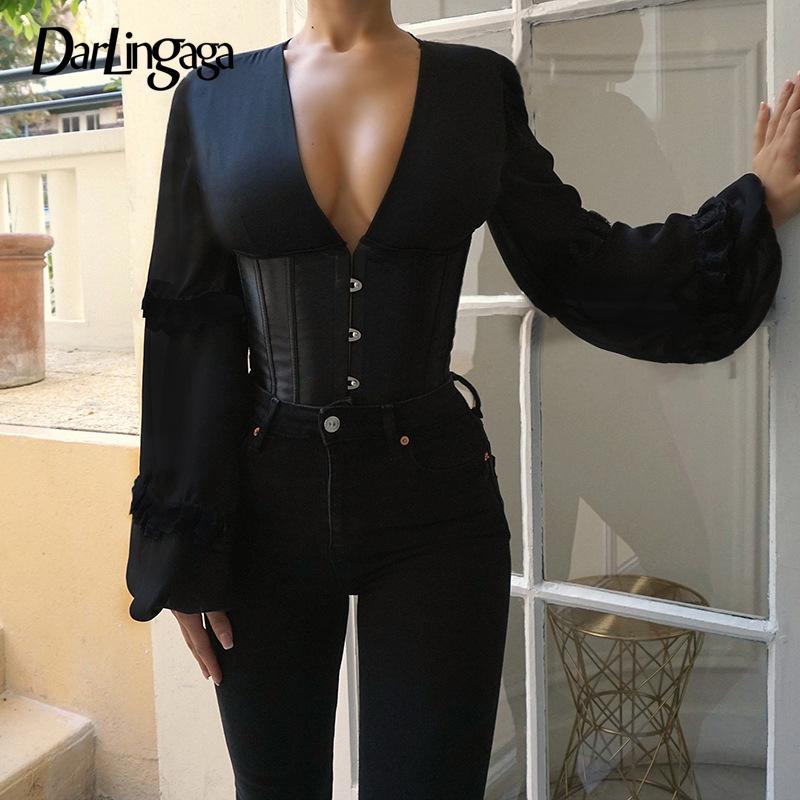 Darlingga V scollo elegante gancio gancio lace up camicia donne corsetto giuntura di moda partito bustier top backless camicette camicie sottili bodycon y200828