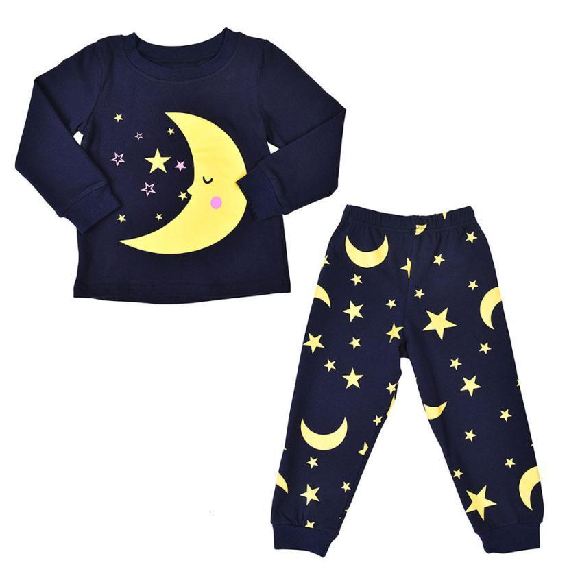 Toddler Kids Baby Moon Star Print Long Sleeves T-shirts Tops Pants Clothes Sets Outfits kids boy clothes adorable July 23