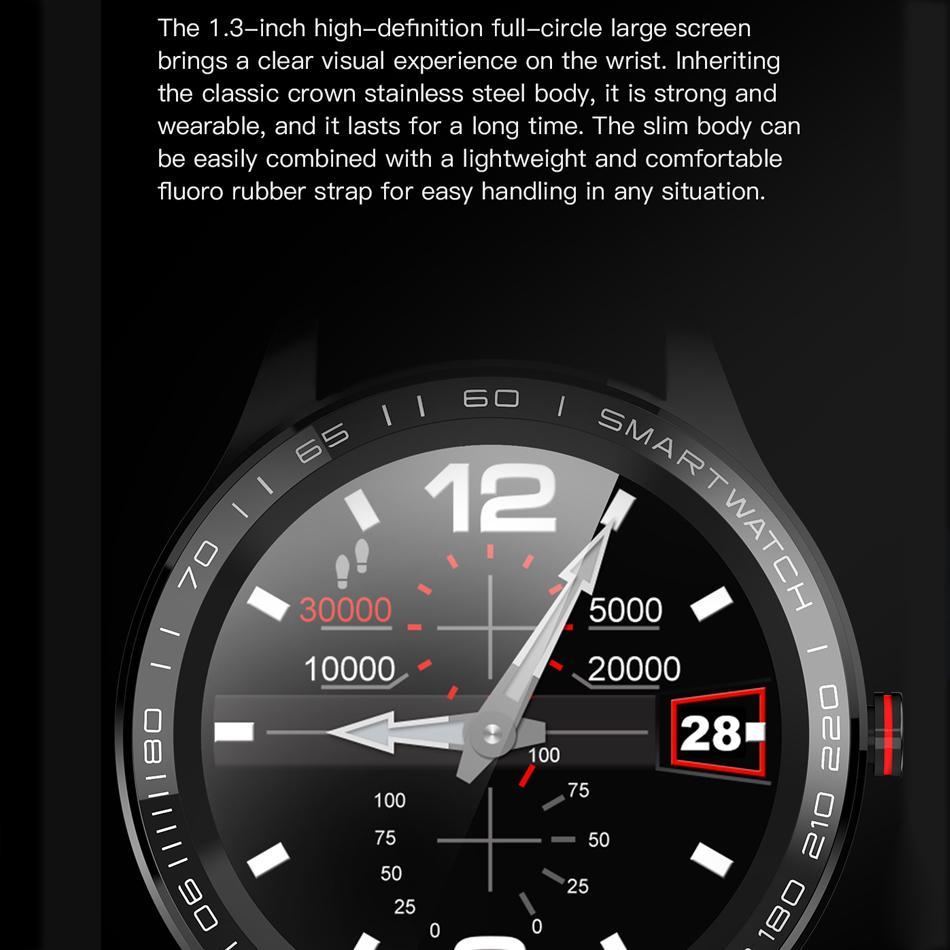 Tracéologique L9 ECG PPG Fréquence cardiaque O2 Moniteur pleine ronde écran tactile Affichage en acier inoxydable IP68 Facebook Smart Business Montre