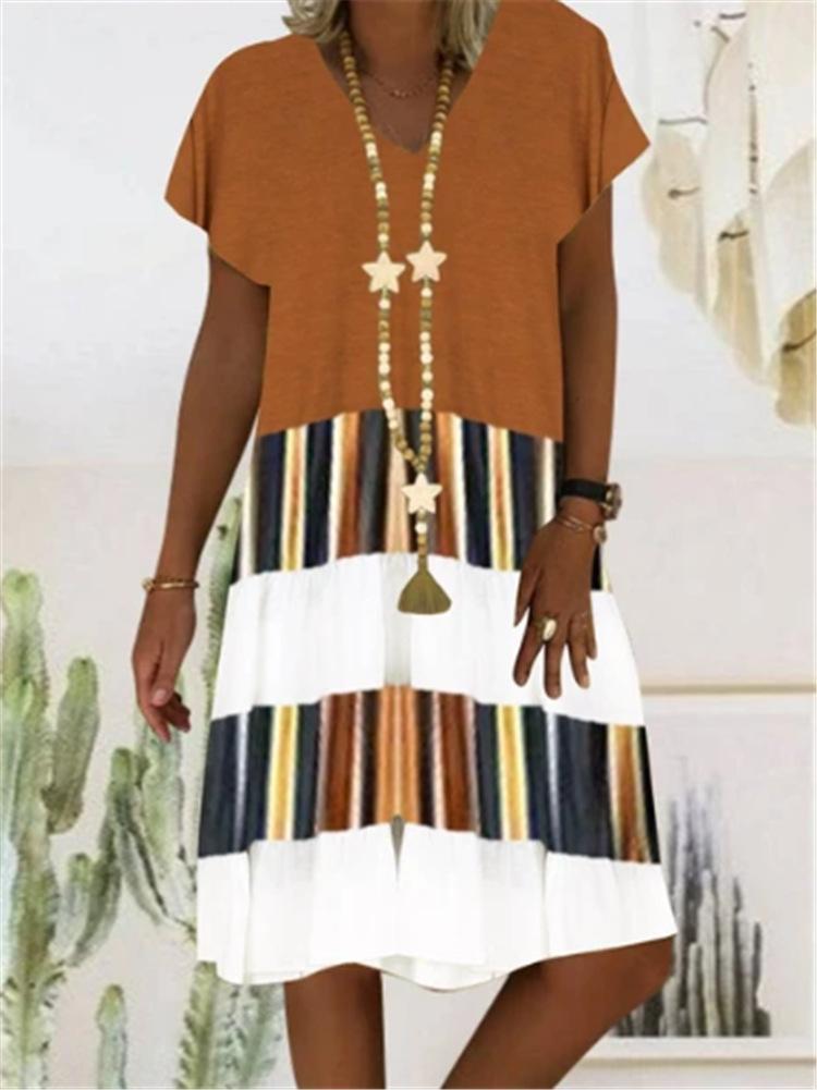 2020 impressa Curta costura de mulheres de manga curta V-pescoço 2020 impresso costura de manga curta vestido do decote em V da saia curta saia das mulheres