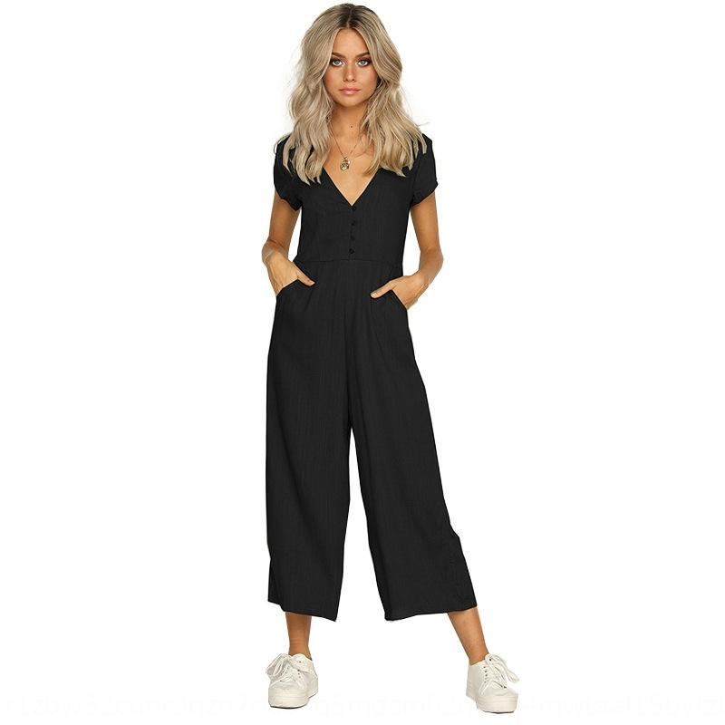 Модные V-образный вырез с полой из спинки с короткими рукавами комбинезон для женщин кнопки Модного V-образного вырез с полой из спинки с короткими рукавами платья Bu
