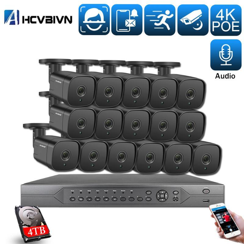 AHCVBIVN Ai Smart 5MP H.265+16CH 4K CCTV System NVR Kit Outdoor Audio Security IP Camera POE Video Surveillance set