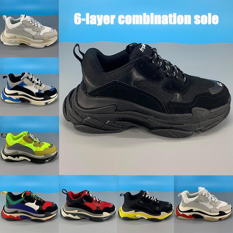 Nova plataforma triple-s 6 camadas combinação únicos sapatos pai Casual triplo preto branco amarelo neon multi-color do vintage homens cinzentos as sapatilhas das mulheres