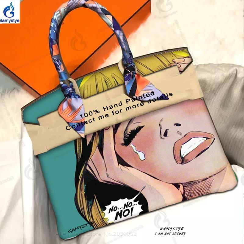ART Girls Cry Girl 2020 handmake new fashion art Hand painted oil painted bags Retro cry girls Wonder Girl Leather