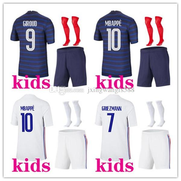 Kids 2020 2021 Kits de football Mbappe Grieuzmann Soccer Jerseys 20/21 Maillots de Football Home Away Pogba Shirt de football Enfants Football Kits