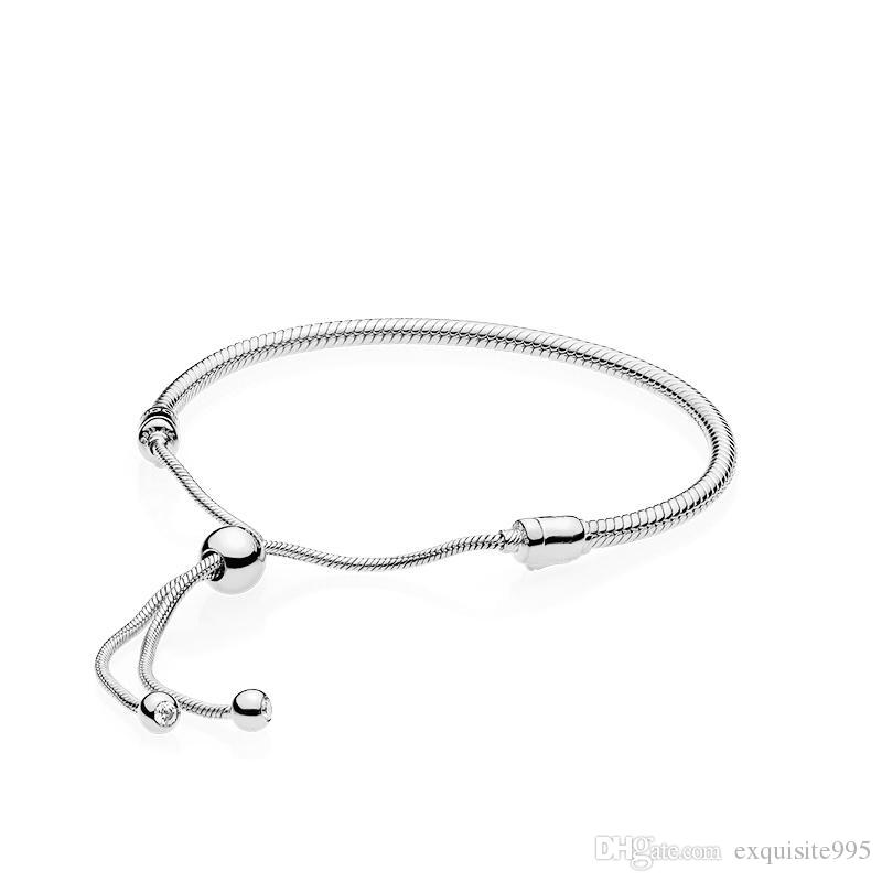 Authentiques 925 corde en argent sterling main Bracelets pour Pandora taille réglable femmes mariage bijoux cadeau Bracelet avec boîte originale B09