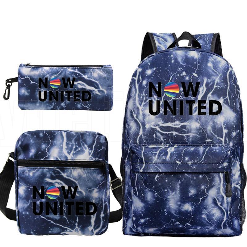 Mochila Сейчас Соединенные Рюкзак Мужчины 3 шт / комплект Hip Hop UN Team Plecak Kpop Пенал плеча Zipper Bag Учиться в России пакет Мешком Dos