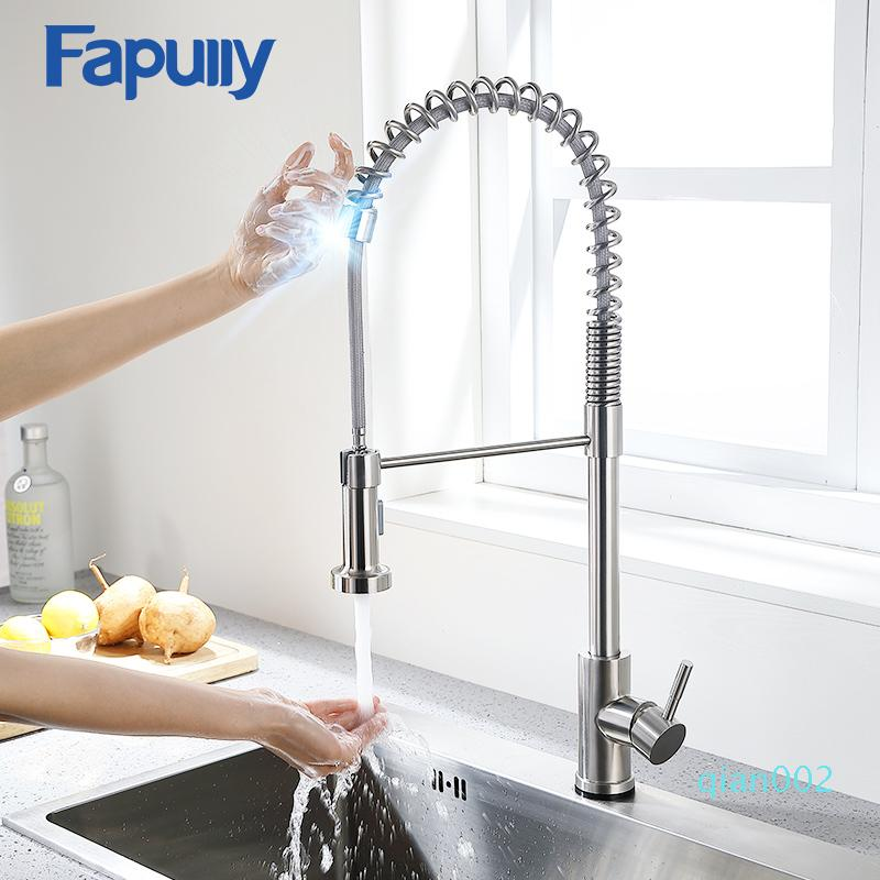 Fapully Kitchen Faucet Stainless Steel Touch Control Smart Sensor Kitchen Mixer Touch Faucet for Kitchen Pull Down Sink Tap 1055 T200424