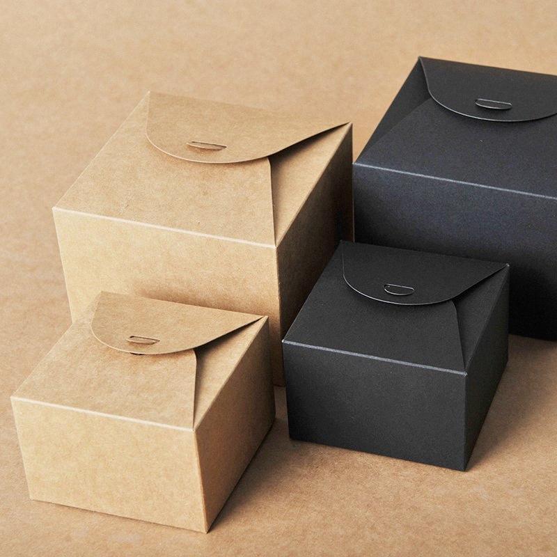 50шт Kraft Paper Candy Box Cookie Шоколад Подарочная коробка Упаковка венчания Birthday Baby Shower партии украшения подарочные пакеты LqiL #