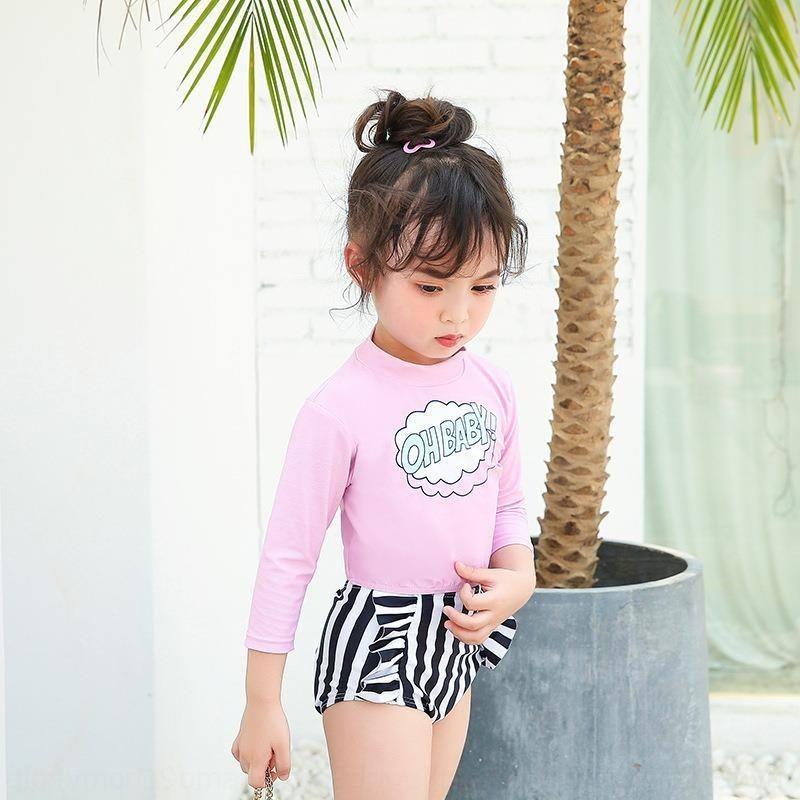 onp1K Zweiteilige kleine Sonnenschutz Mädchen zweiteilige moderne hohe Taille des koreanischen Stil Sports Kinder Badeanzug Badeanzug Mitte Kinder